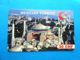 MERHABA TURKIYE 30. CHF ( Switzerland prepaid card ) Turkey Mosque GSM remote prepayee carte Suisse Schweiz Svizzera