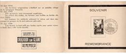 Encart Souvenir Avec Oblitération Temporaire Premier Jour De Oradour Sur Glane 1945 - ....-1949