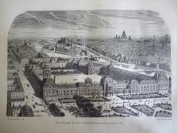 Paris , Vue D'ensemble Du Louvre Et Des Tuileries Avant L'incendie De 1871, Gravure D´aprés Dessin De Lacoste 1880 - Stiche & Gravuren