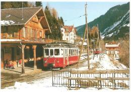 TRAIN Suisse - EISENBAHN Schweiz - CHAMPÉRY, Ancienne Gare - Automotrice BDeh 4/4 11 - Photo Geerinck (autorail,tramway) - Gares - Avec Trains