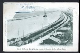 EGYPTE - CANAL DE SUEZ, CANAL D'EAU DOUCE ET CHEMIN DE FER DE PORT-SAID - VOEUX DE JOFFRET, 2 SCAN - Suez