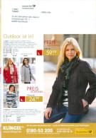 BRD Pforzheim Postwurfspezial Zustellung Durch Deutsche Post 2014 Klingel Versandhaus Mode Frau Outdoor Ist In! - Textil