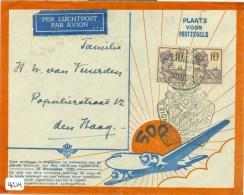 LP * 500e POSTVLUCHT NEDERLANDS-INDIE * BRIEFOMSLAG Uit 1937 Van TJISAROEA Via BUITENZORG Naar DEN HAAG  (9214) - Niederländisch-Indien