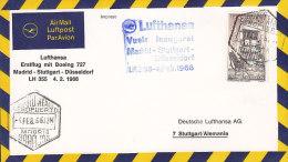 Spain LUFTHANSA Airmail Luftpost Par Avion Erstflug Vuelo Inaugural MADRID - STUTTGART 1966 Cover Letra (2 Scans) - Luftpost