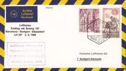 Spain LUFTHANSA Airmail Luftpost Par Avion Erstflug Primer Vuelo Directo BARCELONA -STUTTGART 1966 Cover Letra (2 Scans) - Luftpost
