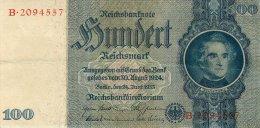 BILLET DE 100 REICHSMARK 24 JUIN 1935 SERIE B - [ 4] 1933-1945 : Troisième Reich