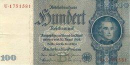 BILLET DE 100 REICHSMARK 24 JUIN 1935 SERIE U - [ 4] 1933-1945 : Troisième Reich