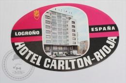 Hotel Carlton, Rioja - Spain - Original Hotel Luggage Label - Sticker
