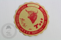 Hostal del Toro, San Sebastian - Spain - Original Hotel Luggage Label - Sticker