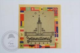 Hotel International, Praha - Czechoslovakia - Original Hotel Luggage Label - Sticker