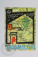 Hotel Srodmiejski - Zielona G�ra, Poland - Original Hotel Luggage Label - Sticker