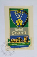 Hotel Grand - Jindřichův Hradec, Czech Republic - Original Hotel Luggage Label - Sticker