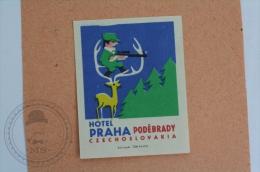 Hotel Praha, Podebrady - Czechoslovakia - Original Hotel Luggage Label - Sticker