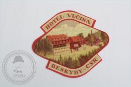 Hotel Vlcina, Beskydy CSR - Czechoslovakia - Original Hotel Luggage Label - Sticker