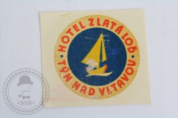 Hotel Zlatalod Tyn Nad Vltavou - Czech Republic - Original Hotel Luggage Label - Sticker
