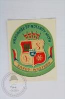 Hotel Savoy Westend - Czech Republic - Original Hotel Luggage Label - Sticker