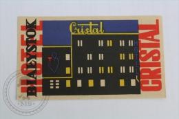 Grand Cristal Bialystok - Poland - Original Hotel Luggage Label - Sticker