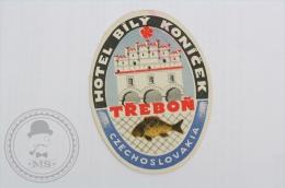 Hotel Bily Konicek, Trebon, Czech Republic - Original Hotel Luggage Label - Sticker