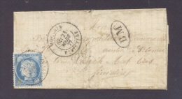 FINISTERE 29 MORLAIX LSC Tad Type 18 Du 21 Mars 1877 Sur N° 60 (usage Tardif) + BM TB - Marcophilie (Lettres)