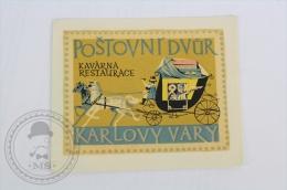 Hotel Postovni Dvur Karlovy Vary, Czech Republic - Original Hotel Luggage Label - Sticker