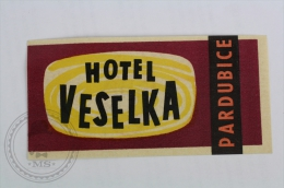 Hotel Veselka, Pardubice, Czech Republic - Original Hotel Luggage Label - Sticker