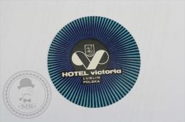 Hotel Victoria Lublin Polska - Original Hotel Luggage Label - Sticker