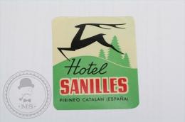 Hotel Sanilles, Cataluña - Spain - Original Hotel Luggage Label - Sticker