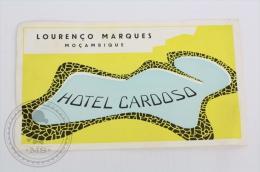 Hotel Cardoso, Louren�o Marques - Mozambique - Original Hotel Luggage Label - Sticker