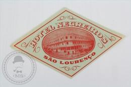 Hotel Negreiros, Sao Louren�o - Brasil - Original Hotel Luggage Label - Sticker