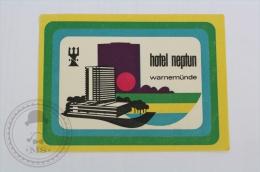 Hotel Neptun, Warnem�nde - Germany  - Original Hotel Luggage Label - Sticker