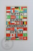 Hotel Volker Freundschaft, Gorlitz - Germany  - Original Hotel Luggage Label - Sticker - Hotelaufkleber