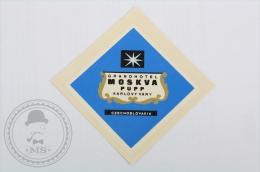 Hotel Moskva Pupp Karlovy Vary, Czechoslovakia  - Original Hotel Luggage Label - Sticker