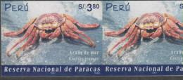 O) 2002 PERU, PARACAS NATURE RESERVE, CRUSTACEAN - GRAPSUS- SEA SPIDER, IMPERFORATE MNH - Peru