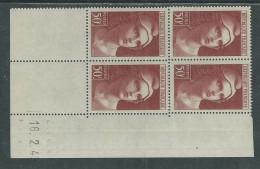 France N° 732 XX  Marianne De  Gandon 50 F. Brun-rouge  En Bloc De 4 Coin Daté Du  16 . 2 . 45 , Sans Charnière, TB - Hoekdatums
