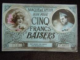 Homme & Femme Carte Fantaisie Sur Billet De Banque , Banque De L ' Amour , Bon Pour 5 Francs Baisers - Autres
