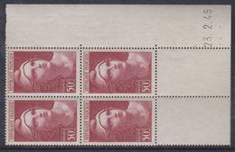 France N° 732 XX  Marianne De  Gandon 50 F. Brun-rouge  En Bloc De 4 Coin Daté Du  23 . 2 . 45 , Sans Charnière, TB - Hoekdatums