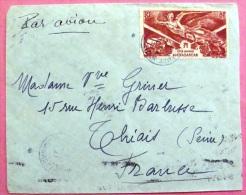Lettre Par Avion  Vers La France 1947 Traces De Tampon Mécanique Au Dos PHOTO RECTO VERSO - Madagascar (1889-1960)