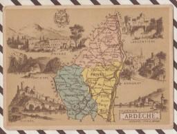 4AG1580 CHROMO HACHETTE Géographique + Vues Département ARDECHE ANNONAY PRIVAS TOURNON - Géographie