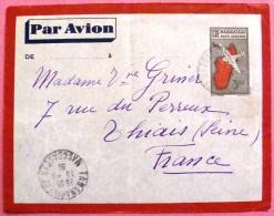 Entier Postal Par Avion De Tananarive Vers La France 1938 Au Dos Tampon Arrivée PHOTO RECTO VERSO - Madagascar (1889-1960)