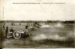 N°40355 -cpa Souvenir De La Guerre Européenne -artillerie Française -canon 75- - Guerra 1914-18