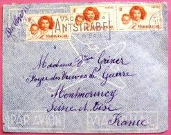 Lettre Par Avion De  Antisarabe Vers La France 1953 PHOTO RECTO VERSO - Madagascar (1889-1960)