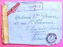 Lettre Par Avion Taxée De Tananarive  Vers La France 19??  OUVERT POUR CONTROLE MILITAIRE PHOTO RECTO VERSO - Madagascar (1889-1960)