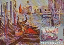 4828- N. DARASCU- MARINA, VENICE GONDOLS, CARTES MAXIMUM, OBLIT FDC, 1972, ROMANIA - Arte