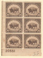 USA SC #700 MNH PB6 (PB4 + 2 SNGL) W/perf Sepn In Selv Above LL Stamp, Sm Discolorization In LL Marg #20551, CV $137.00 - Plate Blocks & Sheetlets