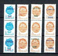 LITUANIE LIETUVA 1991,  SERIE COURANTE SURCHARGES 2 timbres sur 3, 4 valeurs x 3,  neufs / Mint. R1915