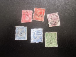 Royaume Uni GB UK England  > 6  Timbres Perforé Perforés Perfins Perfin Perforated Perforatis Perforierte Breif Marke - Great Britain