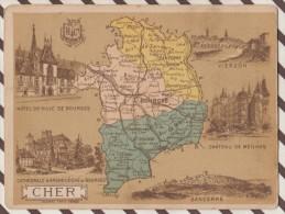4AG1592 CHROMO HACHETTE Géographique + Vues Département CHER SANCERRE  VIERZON BOURGES - Géographie