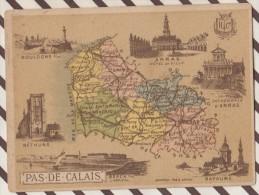 4AG1593 CHROMO HACHETTE Géographique + Vues Département PAS DE CALAIS ARRAS BOULOGNE BAPAUME BETHUNE - Géographie