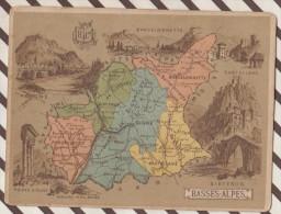 4AG1595 CHROMO HACHETTE Géographique + Vues Département BASSES ALPES DIGNE SISTERON CASTELLANE - Géographie