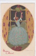 CARD CORBELLA BUON ANNO DONNINA RAMO DI VISCHIO ART DECO-FP-V-2- 0882-21983 - Corbella, T.